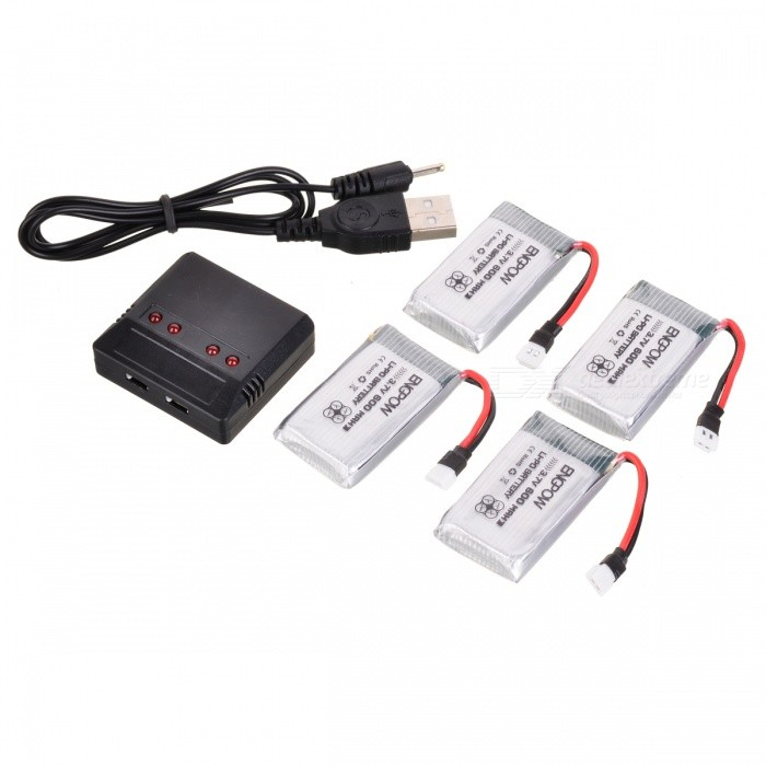 Buy ENGPOW Four 3.7V 600mAh Lipo Batteries with Charger for Syma X5C with Litecoins with Free Shipping on Gipsybee.com
