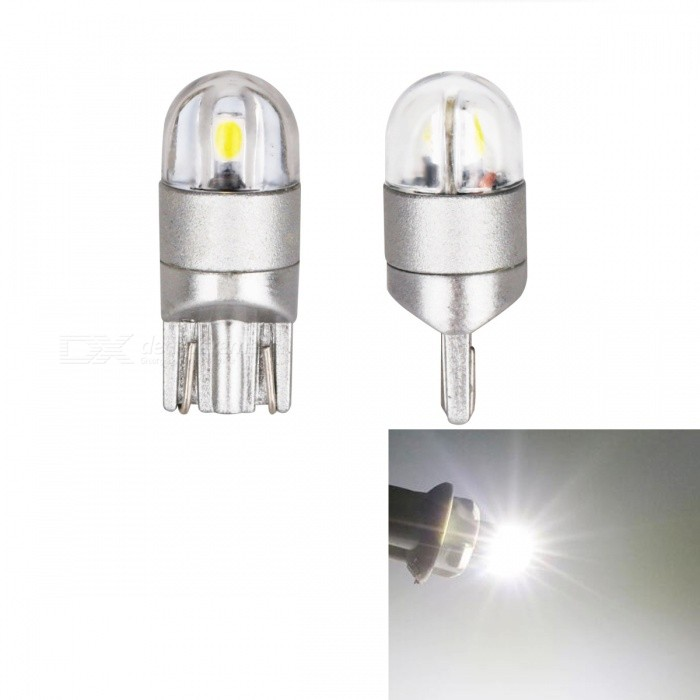 JRLED T10 2W Cool White Light 3030 2-SMD LED Indicator Lamps (2 PCS)Signal Lights<br>Color BINCold WhiteModelT10 3030 2 LEDQuantity2 DX.PCM.Model.AttributeModel.UnitMaterialAluminum + acrylicForm  ColorOthers,Gray + transparentEmitter TypeOthers,3030 SMDChip BrandOSRAMChip Type3030 SMDTotal Emitters2Power2WColor Temperature6500 DX.PCM.Model.AttributeModel.UnitWavelengthN/A DX.PCM.Model.AttributeModel.UnitTheoretical Lumens200 DX.PCM.Model.AttributeModel.UnitActual Lumens180 DX.PCM.Model.AttributeModel.UnitRate VoltageDC12VWaterproof FunctionNoConnector TypeT10Other FeaturesUltra small size, with 3030 SMD high-power lamp, high brightness, Aluminum Alloy heat, the color index above 80, DC12V universal, suitable for all kinds of cars, trucks, lamps, license plate lamp, reading lamp, warning lamp.ApplicationLicense plate light,Steering light,Indicator lamp,Reading lampCertificationCE ROHSPacking List2 x T10 LED Lamps<br>