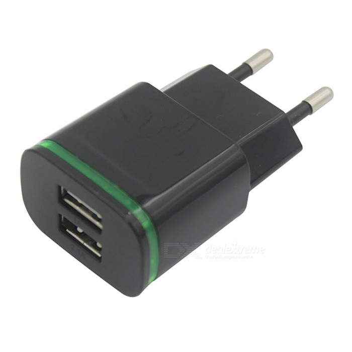Buy USB 2.0 2-Port 5V 2A Fast-Charging EU Plug Power Charger - Black with Litecoins with Free Shipping on Gipsybee.com