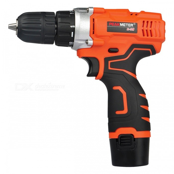 PEAKMETER 12V Compact Cordless Lithium-Ion Drill Driver KitForm  ColorOrange + BlackModel12VQuantity1 DX.PCM.Model.AttributeModel.UnitMaterialABS+PTEScrew Head TypeSlottedScrew DriverSpeed650 RPM<br>Accessory Connection Type3/8 ChuckOther FeaturesTorque: 115 in-lb<br>Light weight, LED Worklight, Always ReadyCertificationCEPacking List1 x Cordless Drill2 x 12V Batteries1 x AC/DC Adapter<br>