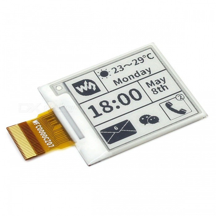 Waveshare 200 x 200, 1.54inch E-Ink Raw Display PanelRaspberry Pi<br>Form  Color1.54inch E-Ink Raw Display PanelModelN/AQuantity1 DX.PCM.Model.AttributeModel.UnitMaterialRF4English Manual / SpecNoDownload Link   www.waveshare.com/wiki/1.54inch_e-Paper_ModulePacking List1 x Panel<br>