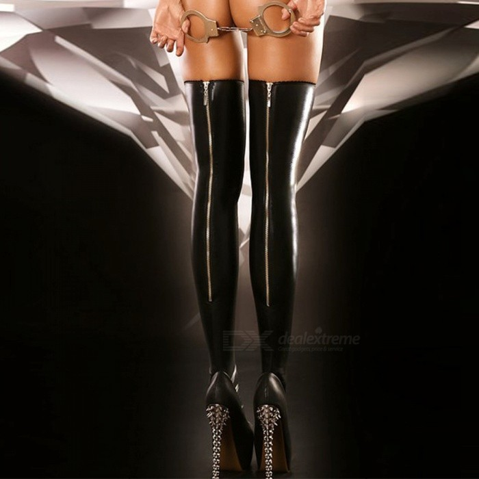 Elastic Imitation Leather Knee Zipper Leg Stockings - Black (One Size)Socks and Leg wear<br>Form  ColorBlack + SilverQuantity1 setShade Of ColorBlackMaterialSkinStyleFashionSeasonsSpring and SummerSock Length of Foot25-29 cmSock Girth of Foot29-32 cmSock Length of Leg81 cmPacking List1 Pair x Stockings<br>