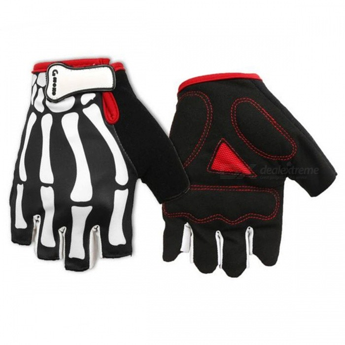 Buy MOKE Bike Riding Hand Skeleton Pattern Semi-Finger Gloves - Black (L) with Litecoins with Free Shipping on Gipsybee.com