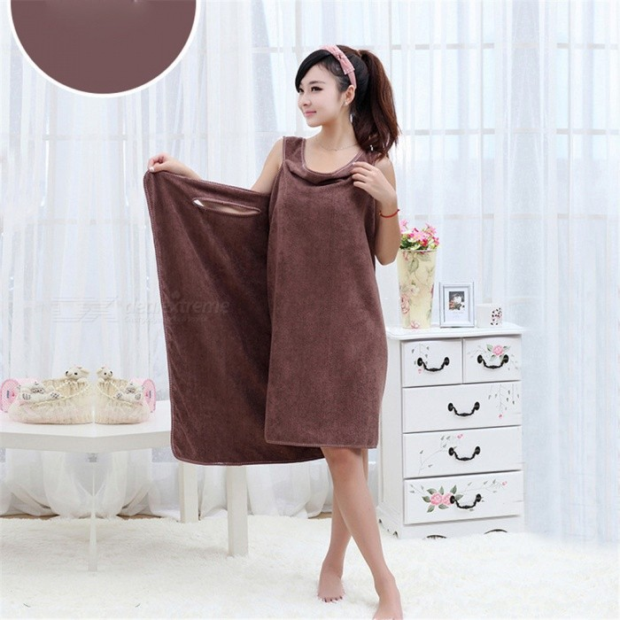 180 x 78cm Soft Wearable Drying Bath Towel Wrap Bathrobes - Coffee