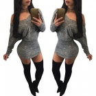 Sexy-Long-Sleeve-Slim-Nightclub-Hip-Package-Spandex-Dress-Gray-(L)