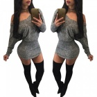 Sexy-Long-Sleeve-Slim-Nightclub-Hip-Package-Spandex-Dress-Gray-(XL)