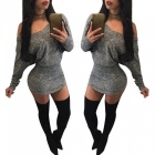 Sexy-Long-Sleeve-Slim-Nightclub-Hip-Package-Spandex-Dress-Gray-(M)