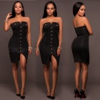 Bead-Bra-Strapless-Belt-Hip-Sexy-Dress-Black-(S)