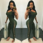 Ladies-Sexy-Slim-Strap-Tying-Spandex-Siamese-Pants-Green-(M)