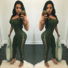 Ladies-Sexy-Slim-Strap-Tying-Spandex-Siamese-Pants-Green-(XL)