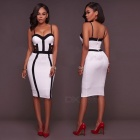 European-And-American-Women-Stitching-Sexy-Halter-Dress-White-(S)
