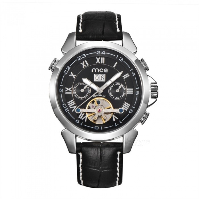 MCE-Unisex-Mechanical-Watch-with-Leather-Strap