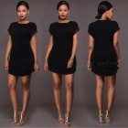 European-American-Women-Sexy-Short-Sleeve-T-shirt-Dress-Black-(S)