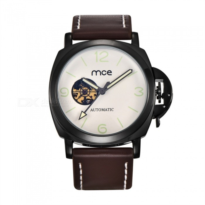 MCE Unisex Fashionable PU Band Self-Winding Mechanical Watch - Black
