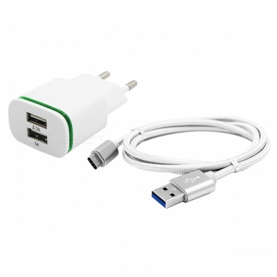 2-Port 5V Fast-Charging EU Plug Power Charger, Type C Cable - White