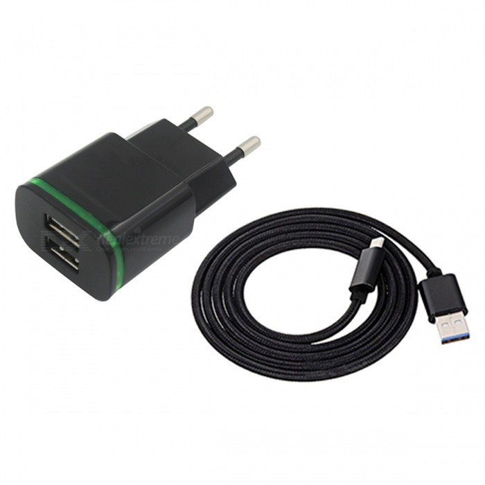 Buy 2-Port 5V Fast-Charging EU Plug Power Charger, Type C Cable - Black with Litecoins with Free Shipping on Gipsybee.com