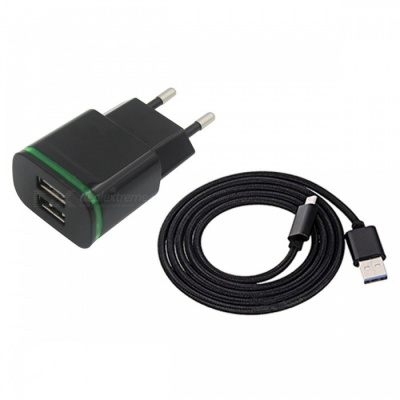 2-Port 5V Fast-Charging EU Plug Power Charger, Type C Cable - Black