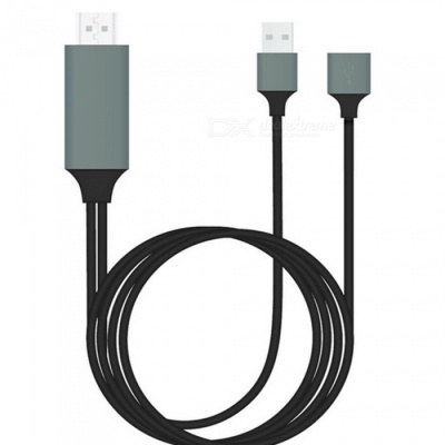 Lighting to HDMI Adapter Cable with USB Port Power Supply - Black (1m)