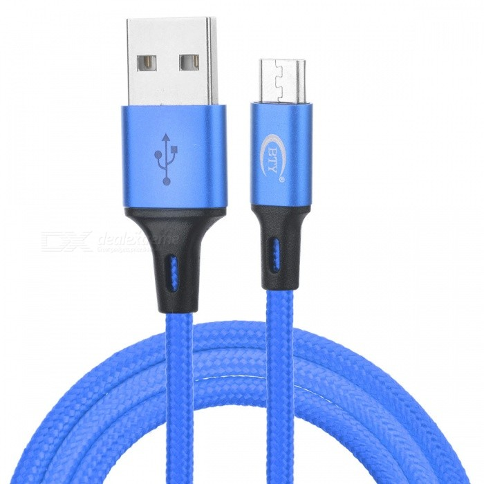BTY W817 Nylon Braided Micro USB V8 Charging Data Cable - Blue (1m)Cables<br>Form  ColorBlack BlueModelW817MaterialNylonQuantity1 pieceCompatible ModelsMicro USB V8 seriesCable Length100 cmConnectorMicro USBTransmission Rate2ASplit adapter number1CertificationROHSPacking List1 x Cable with packaging<br>