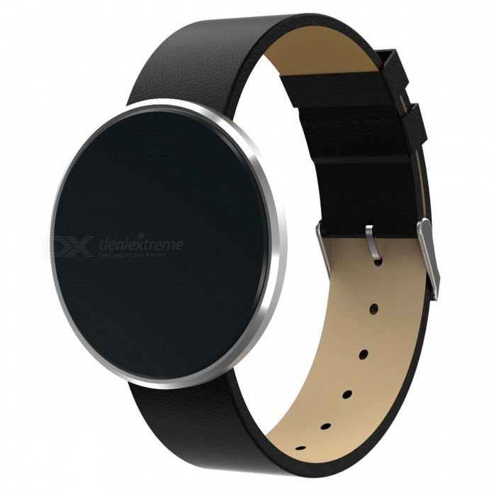 B10-Bluetooth-Smart-Bracelet-with-Leather-Strap-Silver
