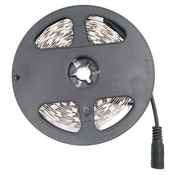 SZFC impermeable 5m 300-LED luz tira caliente blanco 3000K con enchufe DC