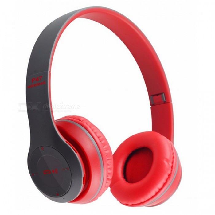Buy KELIMA P47 Stereo Creative Bluetooth Headset with TF, Radio - Red with Litecoins with Free Shipping on Gipsybee.com