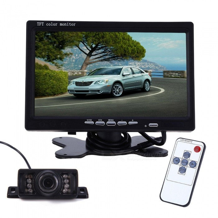 7-inches-LCD-with-Short-License-Plate-Car-Reversing-Camera-Set-Black