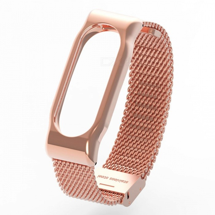 Stainless Steel Metal Mesh Watch Strap for Xiaomi Miband 2 - Rose Gold