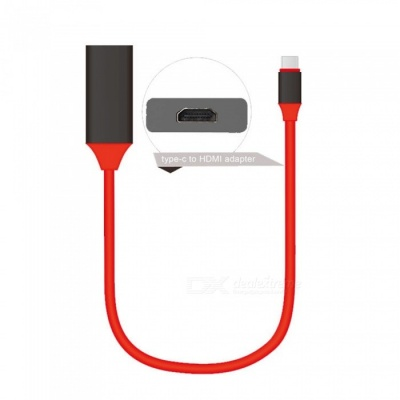 USB 3.1 Type C Male to HDMI Male 4K Adapter Cable - Red, Black