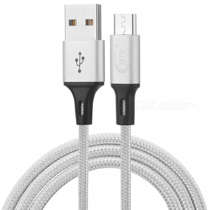 BTY W817 Micro USB Braided High-Speed Data Charging Cable - White (1m)Cables<br>Form  ColorWhite + BlackModelW817MaterialNylonQuantity1 pieceCompatible ModelsAndroid phonesCable Length100 cmConnectorMicro USBTransmission Rate2ASplit adapter number1 to 1CertificationRoHSPacking List1 x Cable<br>