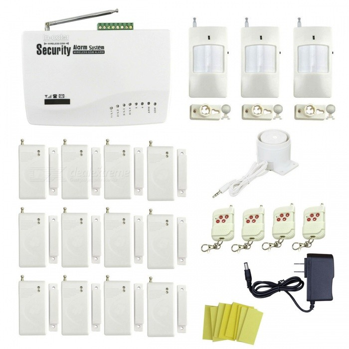 IN-Color Global Universal Wireless GSM Home Security Alarm SystemAlarm Systems<br>Form  ColorWhitePower AdapterUS PlugsModelIN-176538MaterialPlasticQuantity1 setRemote Control Range30 cmVoice Decibels110dBPower AdaptorYesPower Supply12vWorking Temperature-10~40 ?Working Humidity90%Working Frequency433MHzPower SupplyOthers,(100~240V)Battery included or notYesRated Current1 ARate Voltage12VCertificationCEPacking List1 x Host (built-in AAA battery, 67.2V, DC) 1 x Power (110~240V, 110cm-cable) 4 x Remote controls (DC12V / 23A included) 12 x Door / window magnetic detectors (9V included)3 x Wireless infrared detectors (DC9V, 6F22,  included) 1 x Mini siren (80cm-cable) 12 x Stickers 1 x English user manual<br>