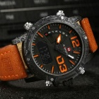 NAVIFORCE 9095 Men's Sports Army Leather Wrist Quartz Watch - Orange