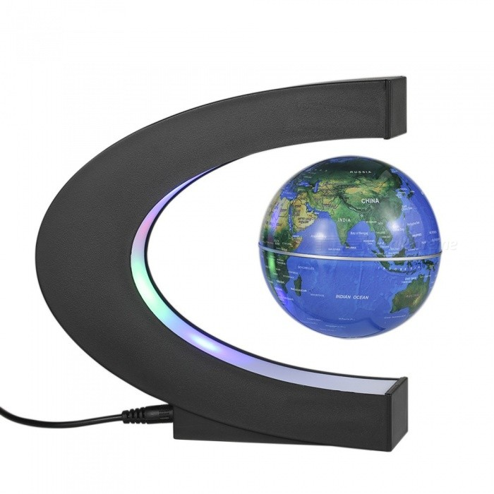 Buy C Shape Magnetic Floating World Map Globe Rotating LED Light - Blue with Litecoins with Free Shipping on Gipsybee.com