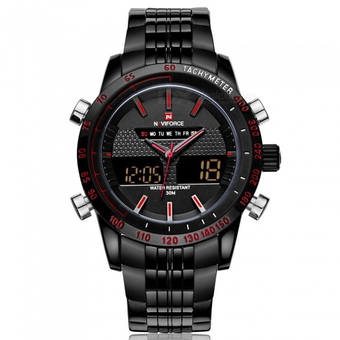 NaviForce 9024 Men's Sports Metal Wrist Quartz Watch - Black, Red