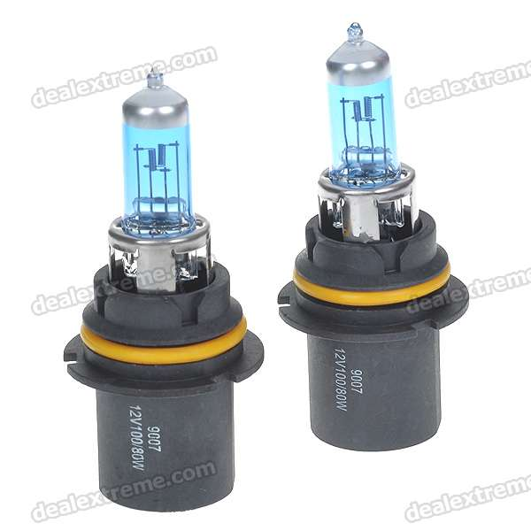 9007 100/80W 6500K White Car Light Bulbs (Pair/DC 12V)