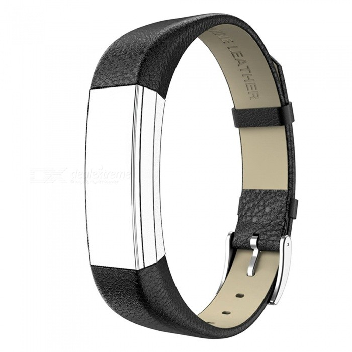 Miimall Leather Replacement Band for Fitbit Alta, Alta HR - Black
