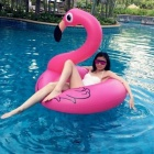 Flamingo Style Floating Pool Uima Ring lapsille-Deep Pink (90cm)