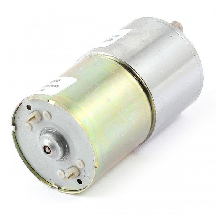 12V-6mm-Dia-Shaft-2-Terminal-20Rpm-Electric-Gearbox-Silver