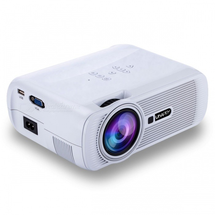 UHAPPY U80 Plus Android 6.0 LCD Projector with Bluetooth Wi-Fi - WhiteProjectors<br>Form  ColorWhiteBrandUhappyModelU80 PlusQuantity1 pieceMaterialABSShade Of ColorWhiteOperating SystemOthers,ANDROID 6.0TypeLCDChipsetAmlogic S905X Quad-Core Cortex-A53@1.5GHz(DVGFS)Brightness1000~1999 lumensBrightness1000 lumensMenu LanguageOthers,English, French,Danish,Spanish,Croatian,German, Greek,Italian,Hungarian,Portuguese,Slovenian,Norwegian Nynorsk,Russian,Serbian,Finnish,Slovak,Swedish,Chinese,Built-in SpeakersYesLife Span20,000 hoursEmitter BINLEDDisplay Size37-130inchsAspect RatioOthers,16:9 Native, 4:3 compatitable; switch freelyContrast Ratio1000:1Native Resolution800x480Maximum Resolution1080PThrow Distance1.2 ~ 3.8meterBuilt-in Memory / RAM1GBStorage8GBExternal MemorySD 32GBAudio FormatsOthers,MP3, AAC, WMA, RM, FLAC, OggVideo FormatsOthers,Supports *.mkv,*.wmv,*.mpg, *.mpeg, *.dat, *.avi, *.mov, *.iso, *.mp4, *.rm and *.jpg file formatsPicture FormatsOthers,HD JPEG/BMP/GIF/PNG/TIFFInput ConnectorsAV,VGA,USB,HDMI,WiFiPower Consumption60W~79WPower Consumption60WPower Supply2.5A ,100-250V, 55WPower AdapterEU PlugCertificationCEPacking List1 x Projector 1 x AV transfer cable (10cm±2cm)1 x Remote Control (2 x AAA batteries, not included)1 x User manual (English)1 x EU plug adapter (100~240V,2.5A,90cm)1 x Big screw<br>