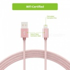 Omars 6ft Nylon Flätad USB-kabel med blixtkontakt - Rose Gold