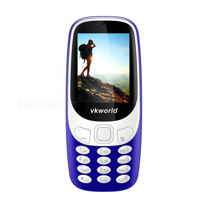 VKWORLD Z3310 2.4 GSM Dual SIM Phone with 32MB RAM, 32MB ROM - BlueFeature Phones<br>Form  ColorBlueModelvkworld z3310MaterialPlasticQuantity1 pieceShade Of ColorBlueNetworkingGSMFrequencyGSM850/900/1800/1900Data TransferGPRSSIM TypeOrdinary SIMSIM Slot2Network StandbyDual Network StandbyNetwork ConversationOne-Party Conversation OnlyGPSNoTypeBrand NewOperating SystemOthers,SpreadtrumCPU ProcessorSpreadtrum 6531CPU Core QuantityOthers,NoLanguageEnglish, French, German, Russian, ItalianTime of Release2017.7.1RAM32MBROM32MBAvailable Memory32MBMemory Card8GBScreen Size2.4 inchTouch Screen TypeNoScreen Resolution240*320Main Camera Lens Features2.0MPFlashNoTouch FocusNoBattery Capacity1450 mAhBattery TypeLi-ion batteryTalk Time30 hourStandby Time150 hourWorking Time72 hourBluetooth VersionBluetooth V2.0TVNoRadio TunerYesDust-proof LevelSupportSensorNoI/O InterfaceMicro USBCertificationCE ROSHPacking List1 x Phone1 x Battery1 x EU plug charger1 x English manual<br>