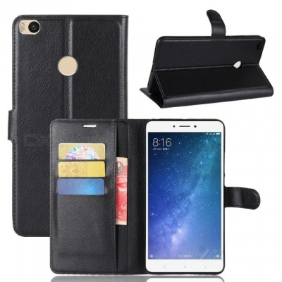 Flip-Open PU Leather Full Body Protective Case for Xiaomi Max 2- Black