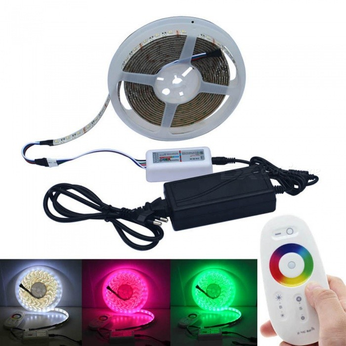 JIAWEN 5M 5050SMD RGBW LED Strip With 5A Power, RF Touch Controller