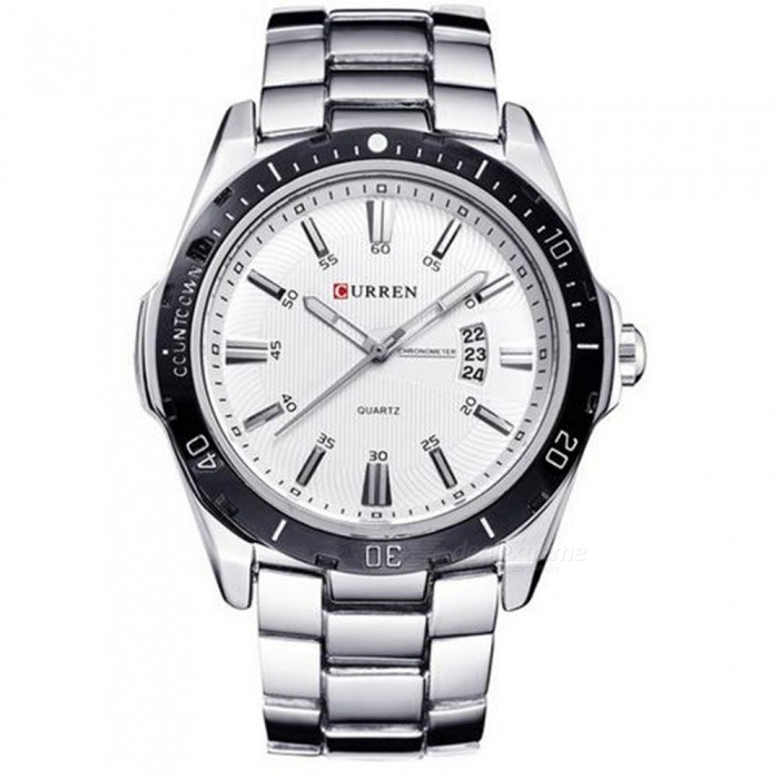 Buy 50m Waterproof Stainless Steel Men's Fashion Calendar Watch - Silver with Litecoins with Free Shipping on Gipsybee.com