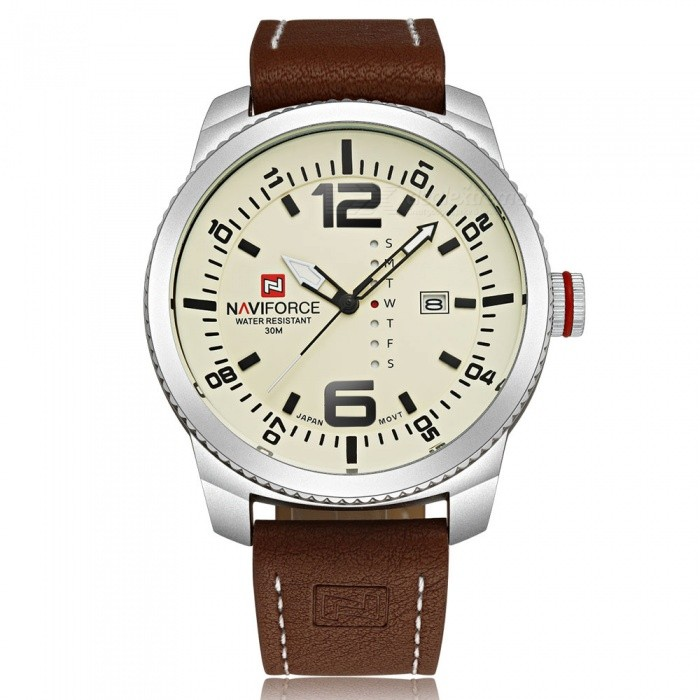 NaviForce 9063 Mens Sport Leather Wrist Quartz Watch - Silver, WhiteSport Watches<br>Form  ColorSilver + White (Without Gift Box)ModelNF9063Quantity1 pieceShade Of ColorSilverCasing MaterialStainless SteelWristband MaterialLeatherSuitable forAdultsGenderMenStyleWrist WatchTypeSports watchesDisplayAnalogMovementQuartzDisplay Format12 hour formatWater ResistantWater Resistant 3 ATM or 30 m. Suitable for everyday use. Splash/rain resistant. Not suitable for showering, bathing, swimming, snorkelling, water related work and fishing.Dial Diameter4.8 cmDial Thickness1.4 cmWristband Length24 cmBand Width2.4 cmBattery1 x Button batteryPacking List1 x Watch<br>