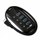 BSTUO Portable 4-Port USB3.0 HUB with LED Light - Black