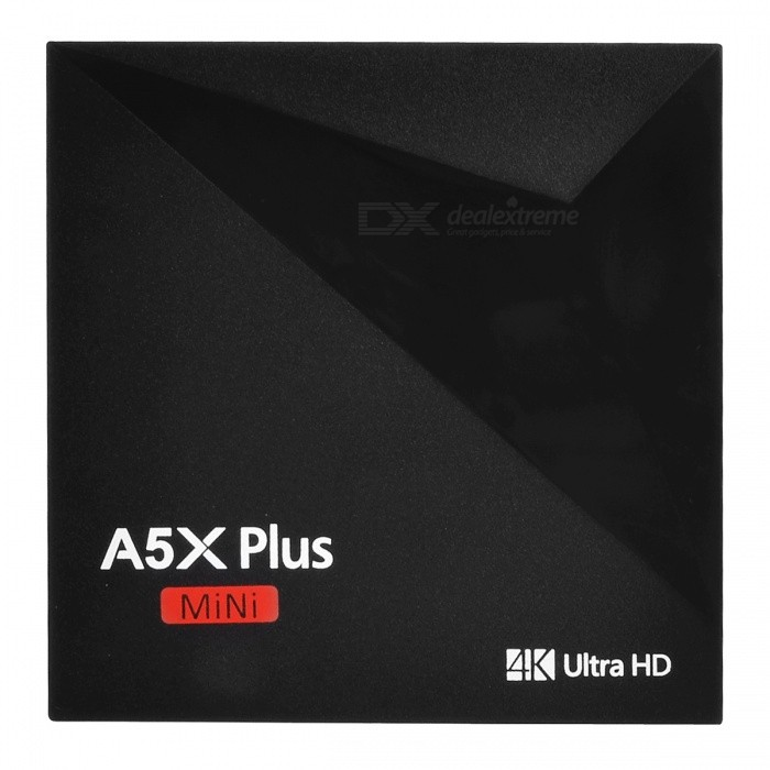 A5X Plus Mini Smart Android 7.1 TV Box with 1GB RAM 8GB ROM (EU Plug)Smart TV Players<br>Form  ColorBlackBuilt-in Memory / RAM1GBStorage8GBPower AdapterEU PlugQuantity1 setMaterialABSShade Of ColorBlackOperating SystemOthers,Android 7.1ChipsetRK3328 Quad-Core Cortex-A53CPUOthers,Cortex-A53Processor Frequency750Mhz+GPUPenta-Core Mali-450 up to 750Mhz+Menu LanguageOthers,English, French, German, Spanish, Italian, etc. multilateral languagesMax Extended Capacity64GBSupports Card TypeMicroSD (TF)Wi-Fi2.4G Wi-FiBluetooth VersionNo3G FunctionYesWireless Keyboard/Mouse2.4GAudio FormatsMP3,WMA,FLAC,OGG,AAC,Others,WAV, DDP, HDVideo FormatsAVI,MKV,MOV,FLV,MPG,DAT,MPEG,WMV,Others,TS, VOB, ISO, ACFAudio CodecsDTS,AC3,FLACVideo CodecsOthers,VC-1MPEG-1/2/4VP6 / 8 H.265 / H.264Picture FormatsJPEG,BMP,PNG,GIF,TIFF,OthersSubtitle FormatsMicroDVD [.sub],SubRip [.srt],Sub Station Alpha [.ssa],Sami [.smi]idx+subPGSOutput Resolution1080PHDMIHDMI 2.0a for 4k@60HzPower SupplyDC 5V 2APacking List1 x A5X PLUS TV BOX1 x Remote control1 x Power Supply (5V/2A)1 x HD Cable1 x User Manual<br>