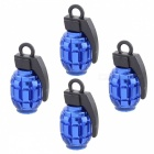 MZ Grenade Style Aluminum Wheel Tire Air Valve Caps - Blue (4pcs)