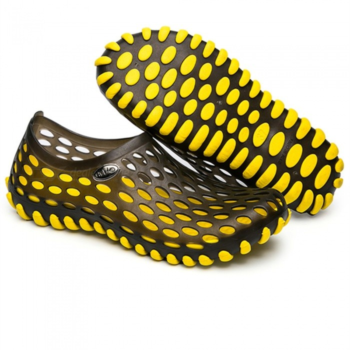 Buy Summer Breathable Beach Slippers for Men - Yellow (Size 40) with Litecoins with Free Shipping on Gipsybee.com