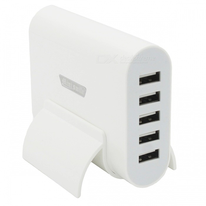 Mini-Smile-Universal-40W-5-USB-Port-5V-8A-Charger-with-Holder-White
